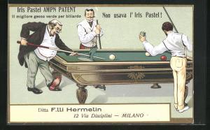 AK Männer beim Billard spielen in eleganter Kleidung, Herr stösst mit Queue Tisch kaputt