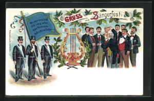 AK Sängerfest, Herrengruppe beim Singen mit Dirigenten, Harfe, Herren in Smoking mit Zylinder halten Fahne