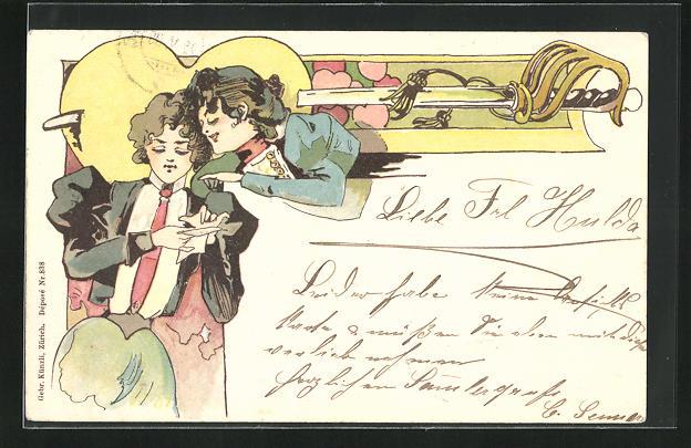 AK Jugendstil, zwei junge Frauen lesen einen Brief, Säbel durch Herz gestochen