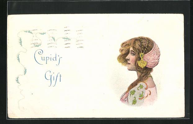 AK Junge Frau mit elegantem Kopfschmuck und rotem Haar