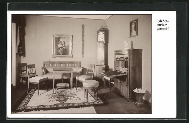 AK Biedermeier Zimmer mit Standuhr und Sekretär