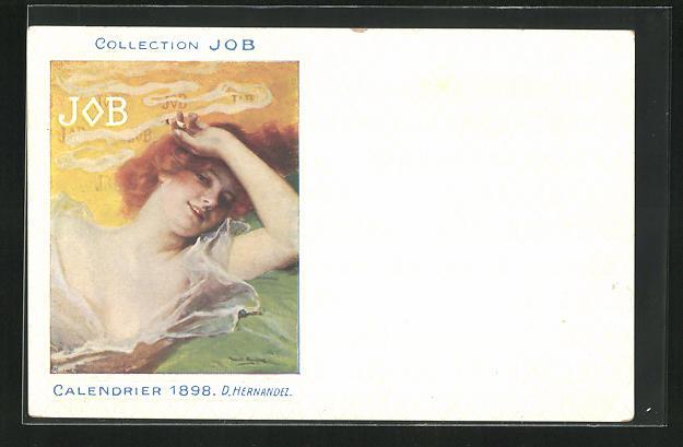 AK Jugendstil, Rothaarige Dame raucht lächelnd Zigarette, Job, Calendrier 1898