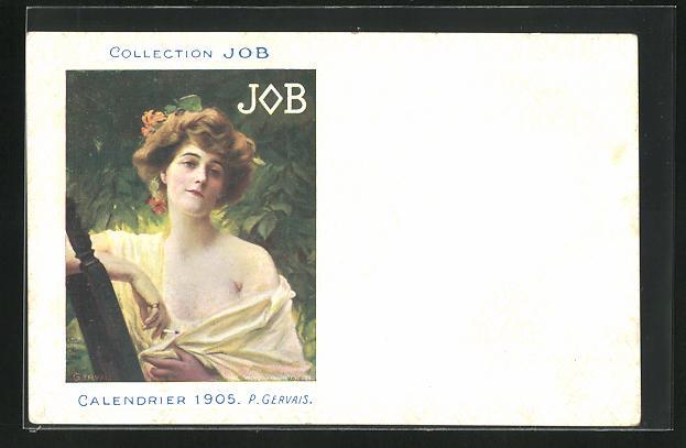 AK Jugendstil, Dame hält lächelnd Zigarette in Hand, Job, Calendrier 1905
