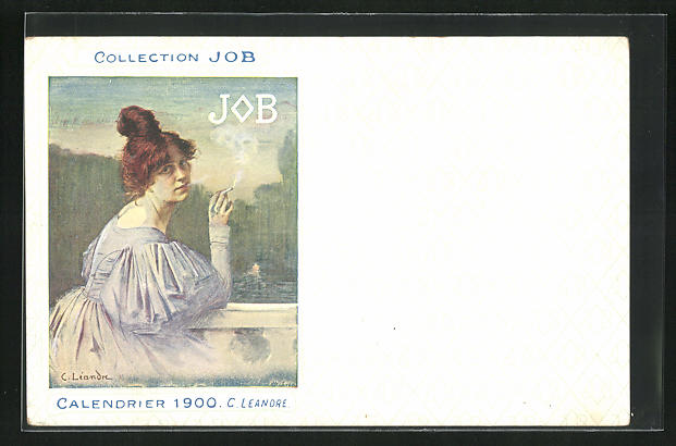 AK Jugendstil, Rothaarige Dame mit hochgestecktem Haar raucht Zigarette, Job, Calendrier 1900