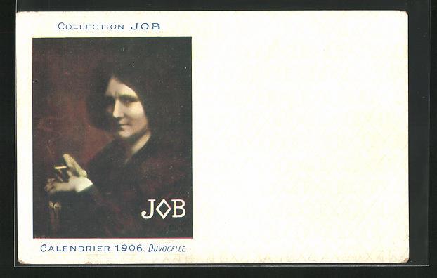 AK Jugendstil, Dame hält Zigarette in Händen, Job, Calendrier 1906