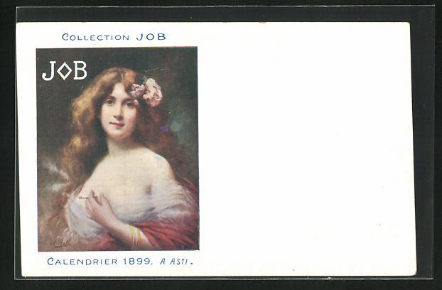 AK Jugendstil, Rothaarige Dame mit welligem Haar hält lächelnd Zigarette in Hand, Job, Calendrier 1899