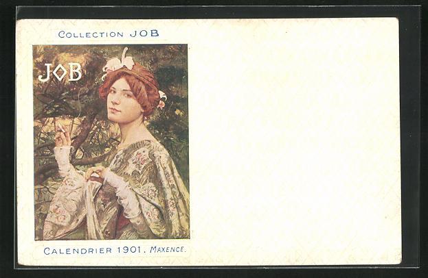 AK Jugendstil, Rothaarige Dame mit Haarschmuck raucht elegant Zigarette, Job, Calendrier 1901
