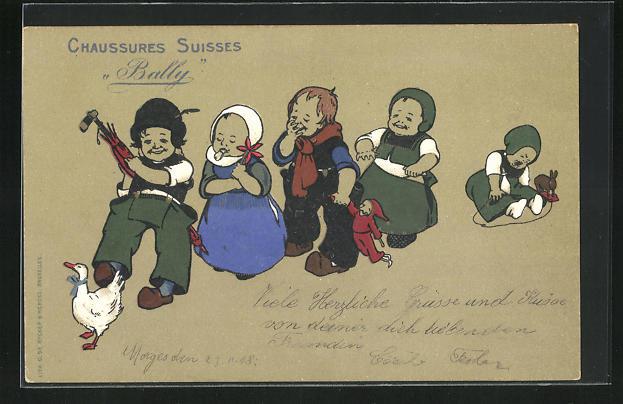 AK Reklame für Bally Schuhe, Kindergruppe mit Spielzeug und Ente, Chaussures Suisses