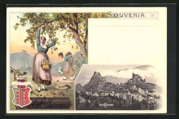 Lithographie Sion, Werbung Kakao Suchard, junge Frau pflückt Obst, Wappen