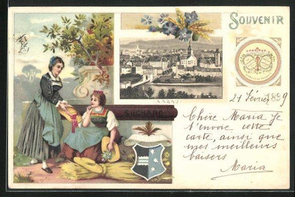 Lithographie Aarau, Werbung Kakao Suchard, zwei Frauen mit Getreide, Wappen