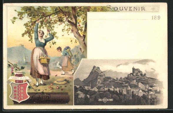 Lithographie Sion, Werbung Kakao Suchard, Frauen pflücken Obst Wappen Valais