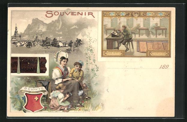 Lithographie Schwyz, Werbung Kakao Suchard, Wappen, Frau mit zwei Kindern, Herren an Schreibpulten