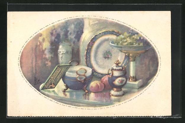 AK Kakao Tobler Chocolat, Tafel Tobler`s Nimrod auf Tisch mit Porzellan