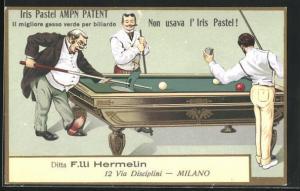 AK Drei Herren beim Billard Spiel, Herr macht den Tisch kaputt