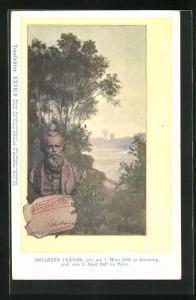 Künstler-AK Philipp + Kramer Nr. XXVII / 9: Johannes Brahms Büste vor Wasserlandschaft