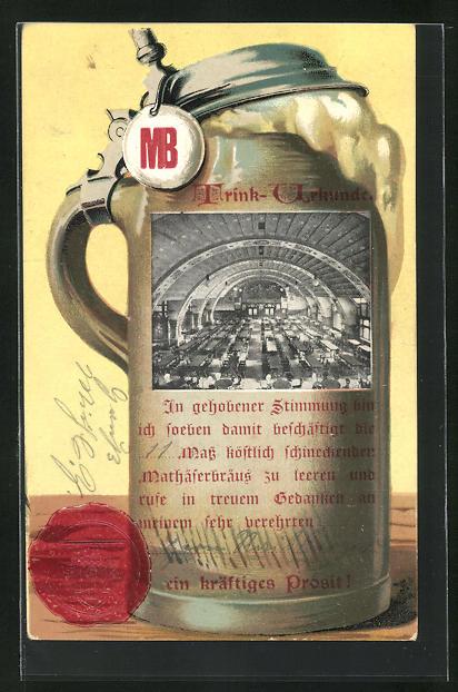 AK Brauerei MB, Trinkurkunde mit Bierkrug und Bierschaum, Siegel