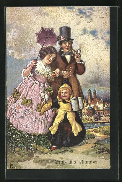 AK Münchner Kindl, Paar in Festkleidung, Mädchen trägt zwei Bierkrüge