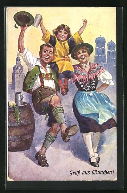 AK Münchner Kindl, Paar in Tracht beim Tanzen, Kind mit Bierkrug