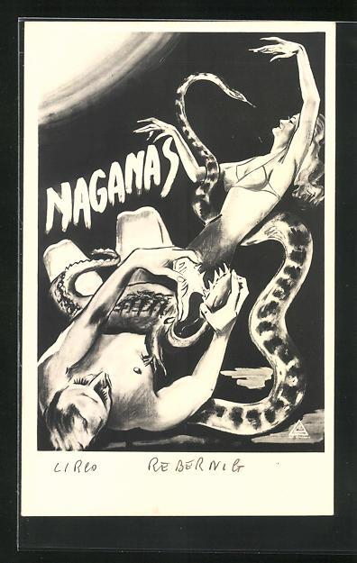 AK Zirkus, Frau leicht bekleidet mit Riesenschlange, Mann ringt mit Krokodil, Circo Rebernig