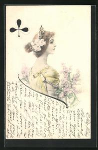 AK Elegante Dame mit Krone und Blumen als Kartenspiel Kreuz Dame