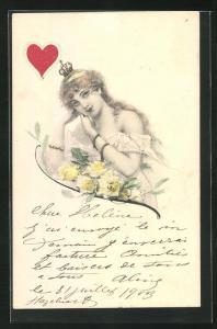 AK Kartenspiel Herz Dame, Frau mit Krone auf lockigem Haar