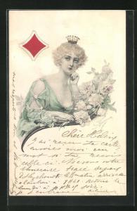 AK Kartenspiel, Karo Dame mit Krone auf kurzem lockigem Haar in grünem Kleid