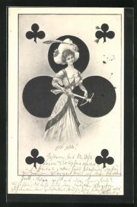 AK Kartenspiel, Kreuz Dame mit Armbrust in Hand haltend