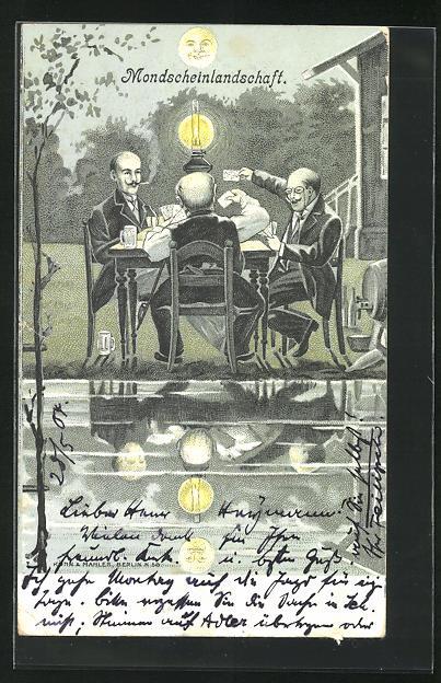 AK Kartenspiel mit drei älteren Herren am Tisch mit Lampe bei Vollmond, Mondscheinlandschaft