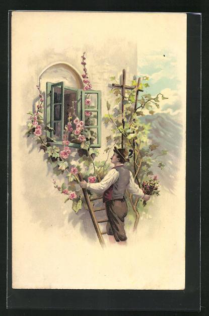 AK Mann in Tracht beim Fensterln, Blumenranke an Wand, Gebirge