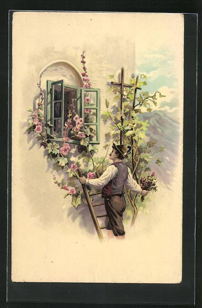 AK Mann in Tracht beim Fensterln, Gebirge, Blumenranken an Wand