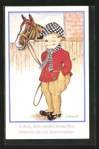 Künstler-AK sign. M. B. Cooper: Jockey mit seinem Pferd