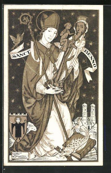 AK Otto Grassl: St. Benno mit dem Altöttinger Gnadenbild