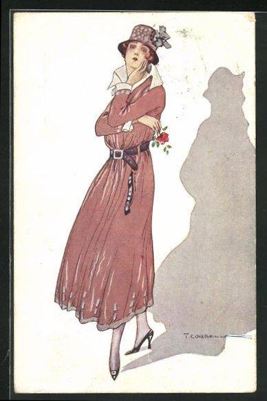 Künstler-AK Tito Corbella: Junge Dame mit Hut und Blume
