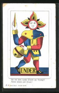 AK Under, De mit dem runde G`sicht sei Trumpf..., Spielkarte Joker