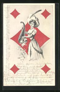 AK Spielkarte Karo-Dame mit Geldscheinen und Münzen