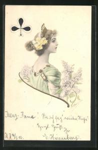AK Spielkarte Kreuz-Dame, Kartenspiel