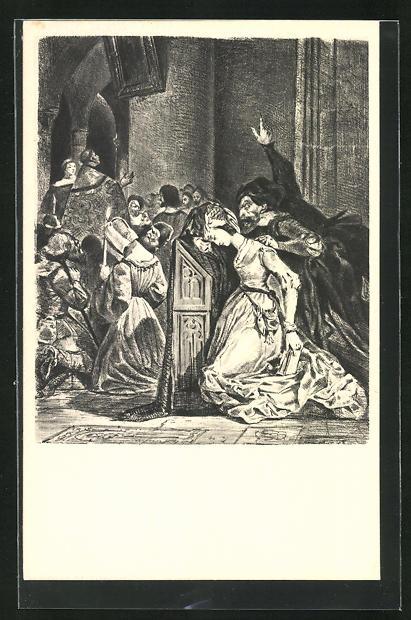 AK Eugene Delacroix: Zu Goethes Faust, Das Gebet