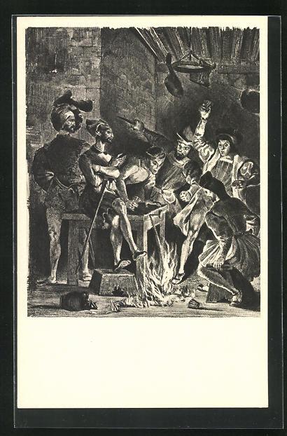 AK Eugene Delacroix: Zu Goethes Faust, Ein Feuer bricht aus