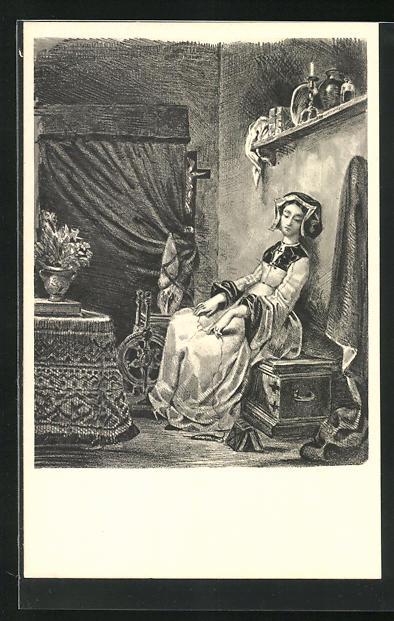 AK Eugene Delacroix: Zu Goethes Faust, Fausts Gretchen
