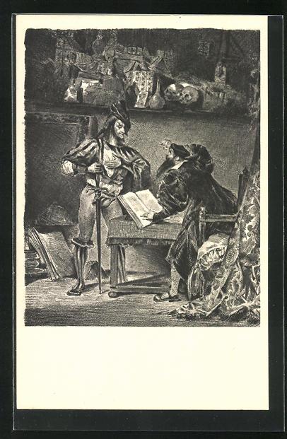 AK Eugene Delacroix: Zu Goethes Faust, Im Gefängnis