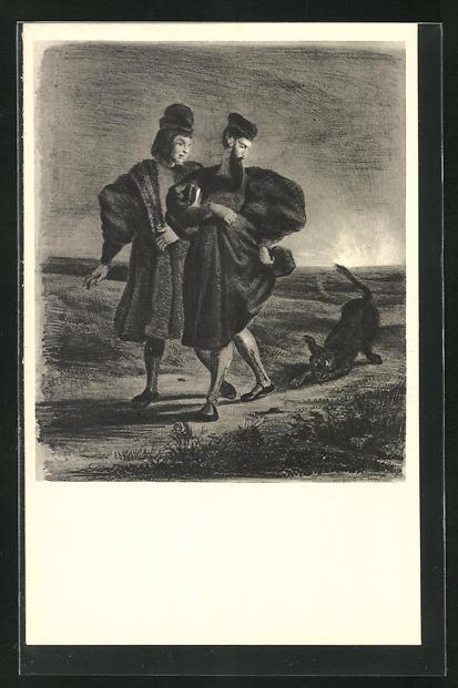 AK Eugene Delacroix: Zu Goethes Faust, Faust und Mephisto mit einem Hund