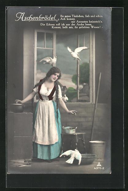 AK Aschenputtel beim Erbsenlesen mit Tauben