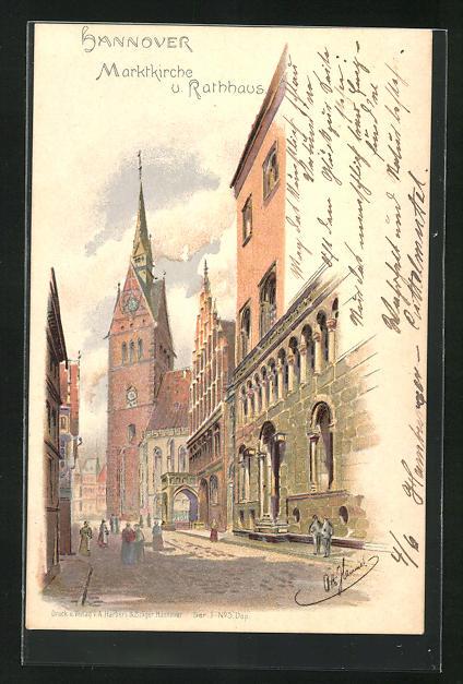 Künstler-AK Hannover, Marktkirche u. Rathaus