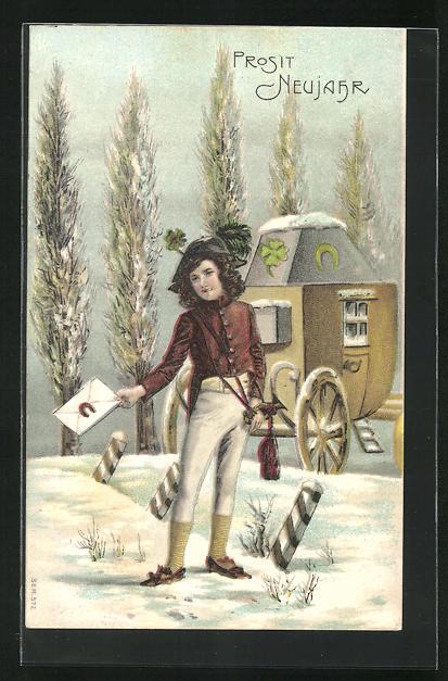 Präge-AK Bote mit einem Brief im Schnee, Neujahrsgruss
