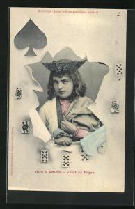 AK Valet de Pique, Les 4 Valets, Pik-Bube durch zerrissenes Papier mit Spielkarten