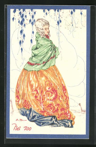 Künstler-AK Elegante Dame mit Umhang unter einem Baum, Art Deco