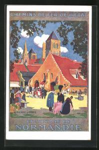 Künstler-AK Tourismus-Werbung für die Normandie, Chemins de Fer de l`État