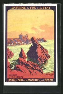Künstler-AK Tourismus-Werbung Bains de Mer de la Manche et de l`Ocean, Chemins de Fer de l`État