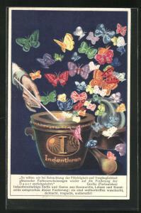AK Reklame für Indanthrenfarbige Stoffe, Reigen bunter Schmetterlinge