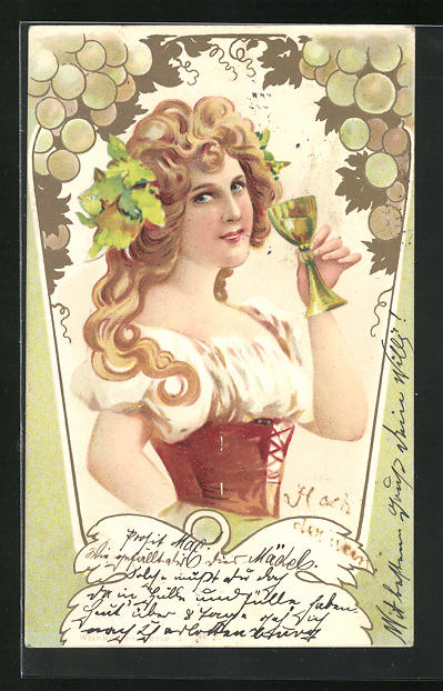 Lithographie Weinkönigin mit einem Glas Weisswein, Jugendstil